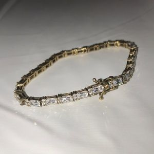 Jewelry - 925 silver stamped gold tone tennis bracelet chic